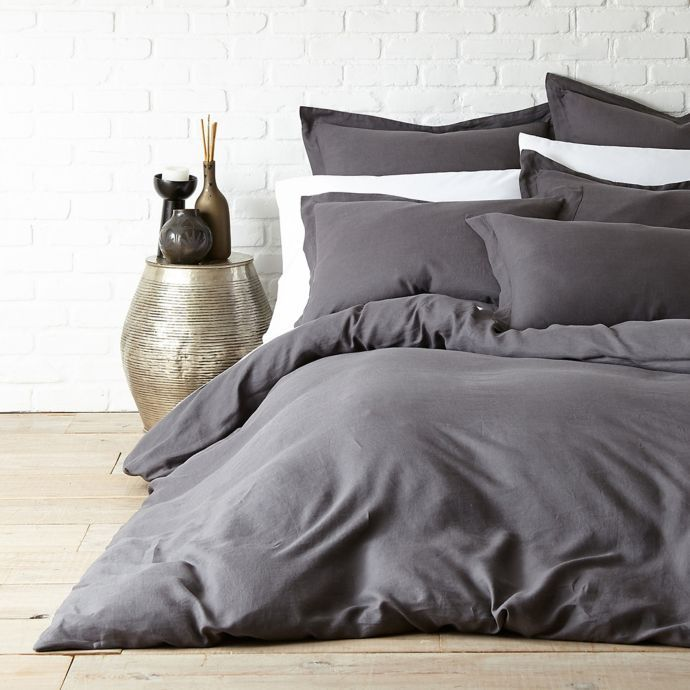 Levtex Home Washed Linen Duvet Cover In Coal Bed Bath And Beyond Canada Washed Linen Duvet Cover Gray Duvet Cover Linen Duvet Cover Grey