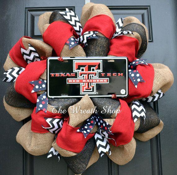 Texas Tech Burlap Wreath by CreationsbySaraJane on Etsy, $85.00