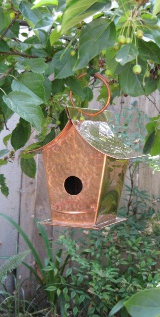 Copper Metal Birdhouse Hammered, Asian Brass Roof