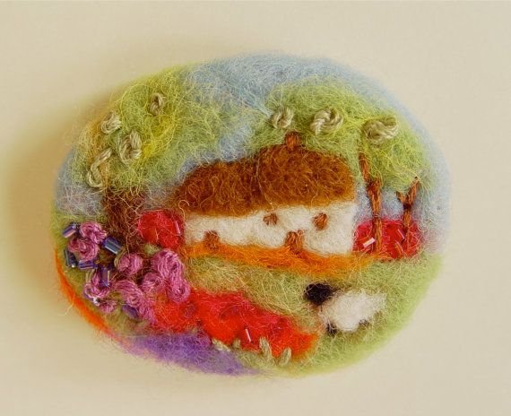 Needle felted brooch pin wool 'Cottage in bloom' by iwantcraft