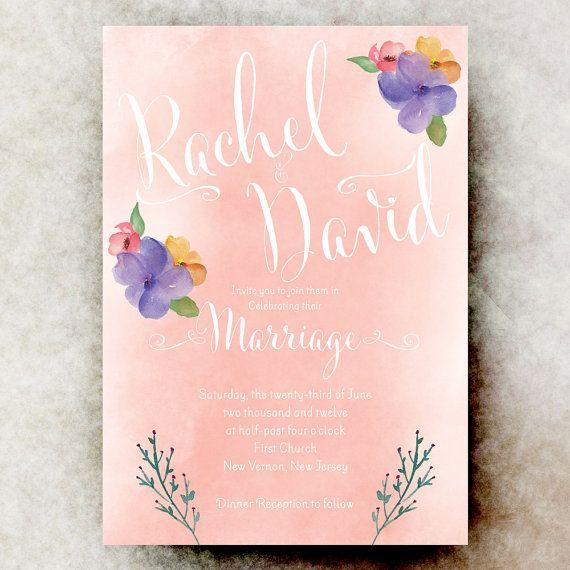 Coral Wedding Invitation - Watercolor wedding Invitation, Floral wedding Invitation, Printable wedding Invitation $21