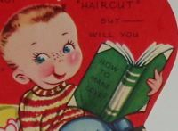 """Vintage 1948 Valentine greeting card, cute boy reading a book, 3 1/4"""" used"""