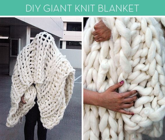 Okay, so I don't know how to knit and I've never tried. But, holy cow, if this giant knit blanket doesn't make me want to learn STAT!      Obviously, there's no way I can jump right in with this bad boy (Laura from Nocturnal Knits uses PVC pipes as knitting needles!! That's hardcore.), but maybe -- maybe -- I can work up to it. Any knitters in the house willing to give this giganto blanket a shot? Check out how right here!
