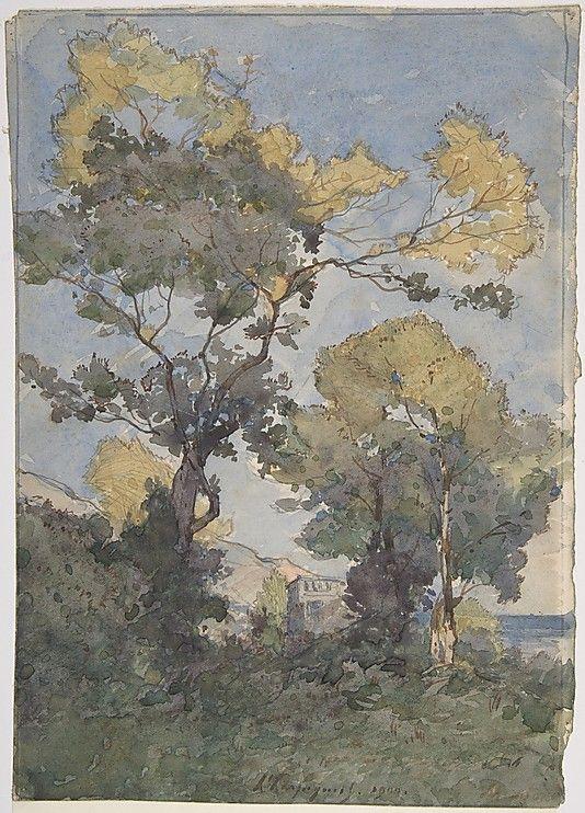 Henri-Joseph Harpignies, watercolor & graphite, Landscape, 1900