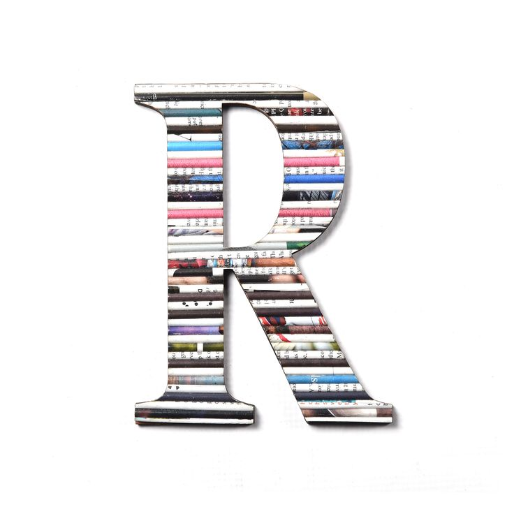 Recycled paper letter R. available from www.iiilovelocal.com