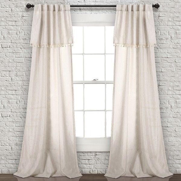 Neutral Tassel Curtain Panel Set, 84 in. ($70) ❤ liked on Polyvore featuring home, home decor, window treatments, curtains, pole pocket curtains, neutral curtains, tassel curtains, tassels home decor and rod pocket draperies