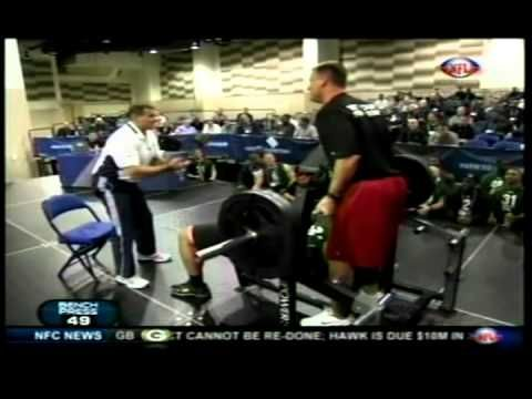 http://youtu.be/LypGDkupIQ4    http://youtu.be/goBcNK-X0Ns    Stephen Paea breaking the NFL Scouting Combine Record for Bench Press 225lbs X 49reps