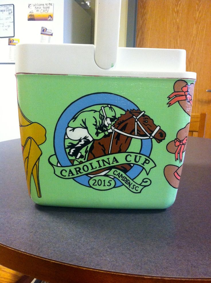 Painted cooler ideas: Carolina Cup cooler side