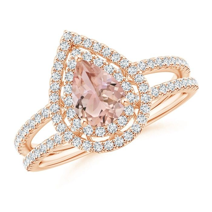 Exquisitely crafted in 14k gold, this classic morganite ring comes with a stylish split shank and interesting scrollwork on the gallery. The pear-shaped morganite is decorated with two dazzling halos of sparkling diamonds. On the shoulders are several more diamonds that complete the luxurious look of this double halo ring.
