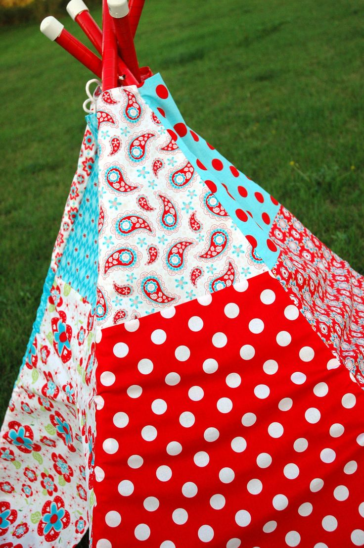 Child Toddler Kid's Play Teepee/Tent Hideaway in Sugar and Spice Red Fabric by Riley Blake. $140.00, via Etsy.
