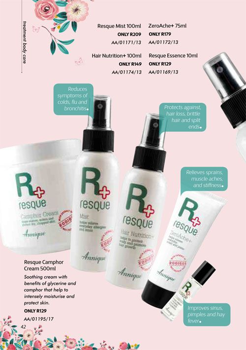 Annique Health & Beauty October 2017 Specials. A must have for every medicine cabinet & first aid box.  Nothing comes close to this product range. Camphor Cream, Resque Mist, Hair Nutrition, ZeroAche, Resque Essense.