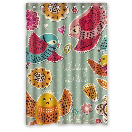 """Immagine generici e altri uccelli e fiori Disegno Bagno Doccia Tenda personalizzata Shower Curtain 48 """"x 72"""""""