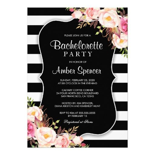 Floral Black And White Stripe Bachelorette Party ...