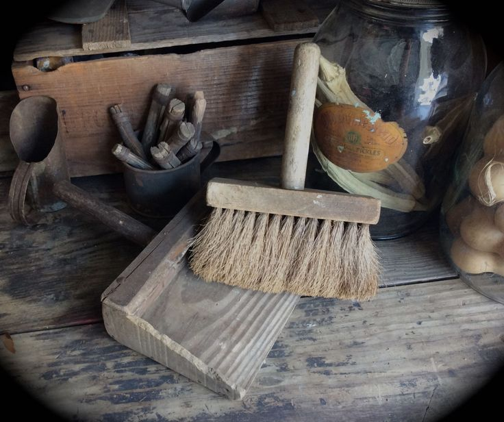 Vintage Metal Cabinets >> Primitive old wood dust pan and hand brooms at Sweet ...