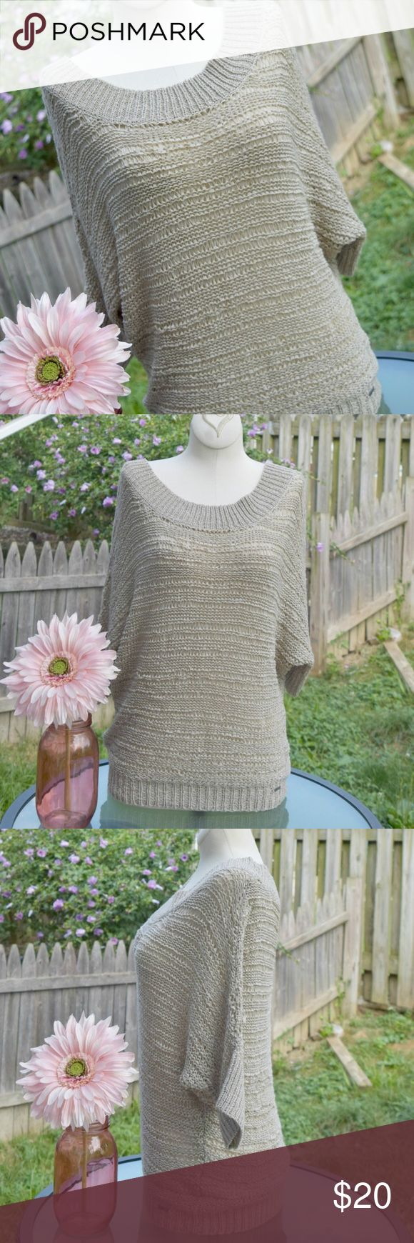 Hang Ten short dolman sleeve sweater This sweater is adorable and lightweight!  The open knit makes this semi see through, but makes it a great top to wear over a tank or cami. Short, dolman sleeves and scoop neck. Great neutral color. Brand new, never worn. Size large. Tops Blouses