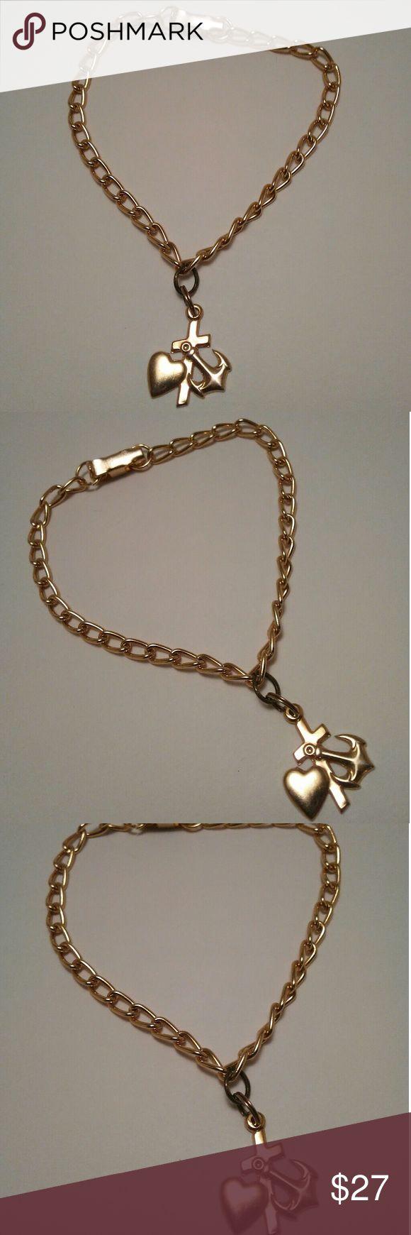 Anchor, Heart & Cross Gold Chain Bracelet Anchor, Heart & Cross Gold Chain Bracelet -7 inches  -Handmade Jewelry Bracelets