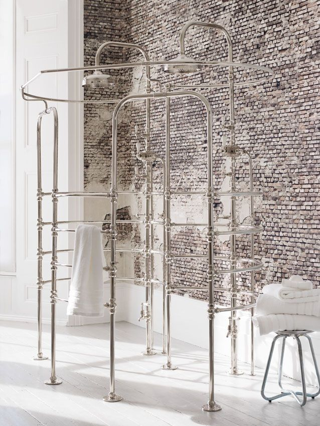 La Cage Double Shower Enclosure Set Against Brick Wall By Catchpole And Rye For A Scandinavian Hygge Home