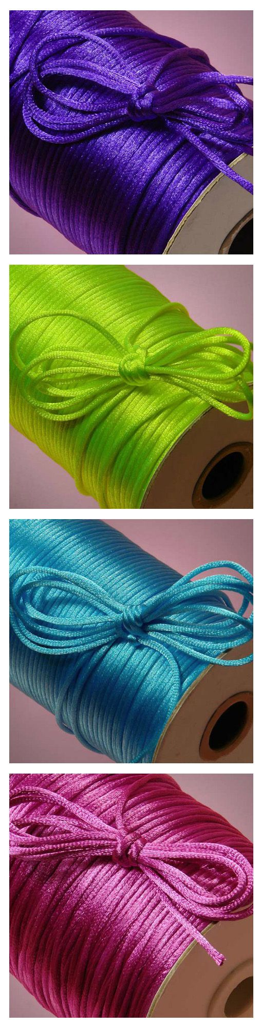 Bright and colorful rat tail satin cords for making jewelry, braided bracelets and necklaces, and wrapping gift with bright colors #rattailcord