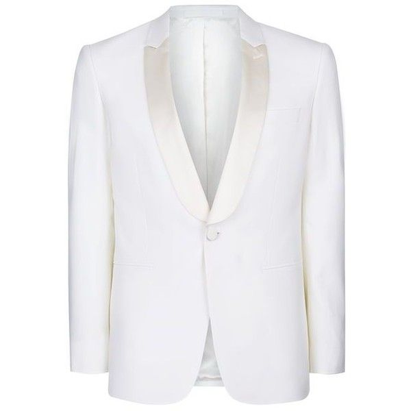 Charlie CASELY-Hayford X Topman Off White Skinny Occasion Suit Jacket (595 BRL) ❤ liked on Polyvore featuring men's fashion, men's clothing and off white mens clothing