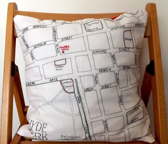 Hyde Park and Marble Arch London Street Map  by StitchCity on Etsy