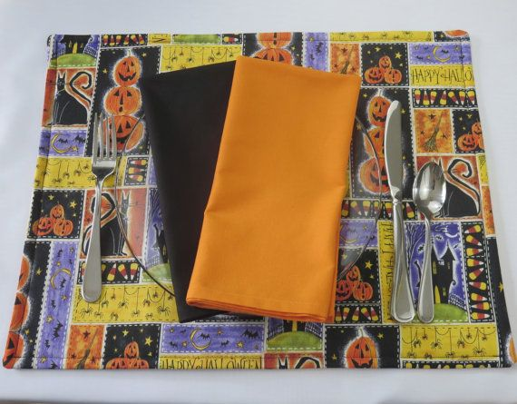 Halloween Placemats Black & Orange Placemats by StitchedbyBeverly
