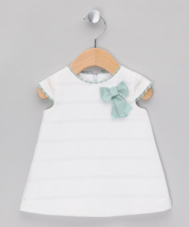 Take a look at this White Stripe Cap-Sleeve Dress - Infant by Fina Ejerique on #zulily today!