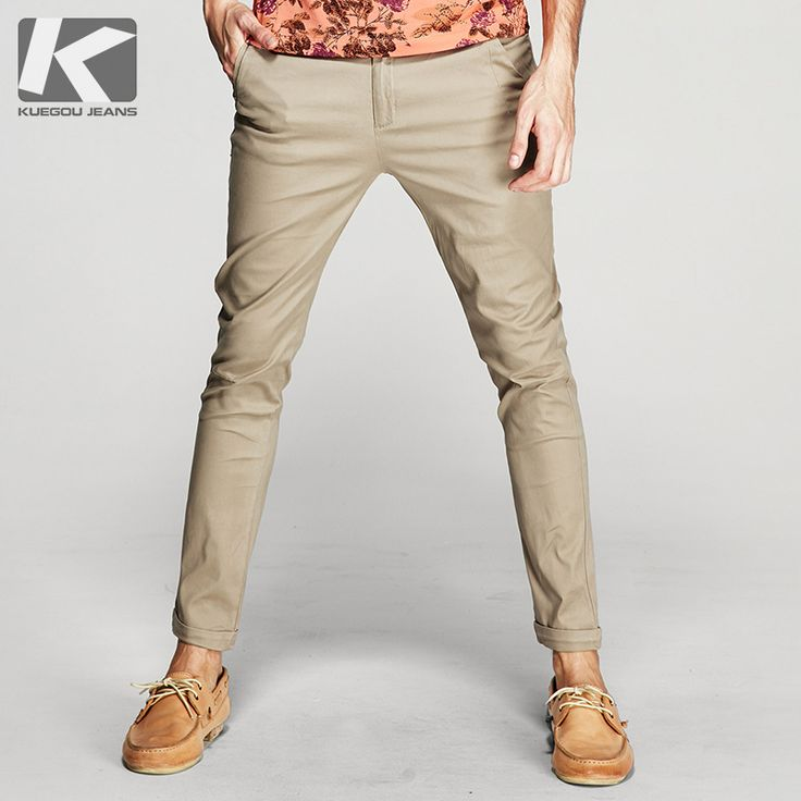 KUEGOU 2017 Spring Mens Casual Pants Thin Khaki Color Zipper Pockets Brand Clothing For Man's Slim Fit Male Wear Trousers 60712