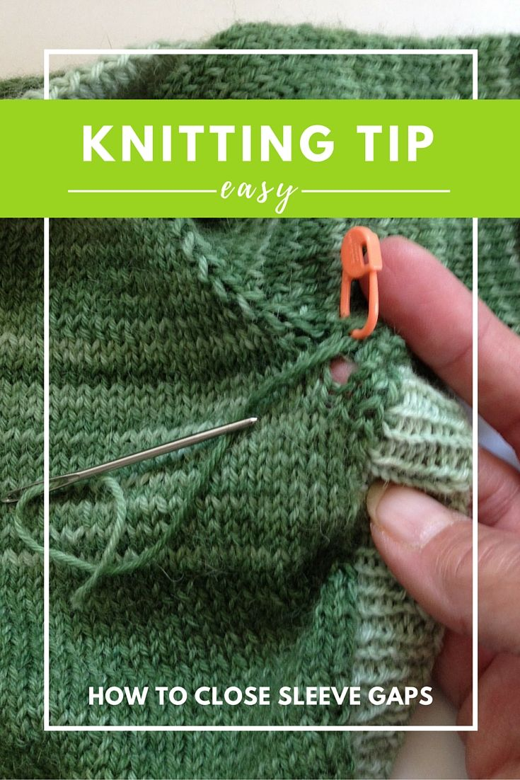 "Knitting Tip: Easy Way to Close Sleeve Gaps Top down knitting projects are some of my favorites. They are pretty much seamless except for a small area where the sleeve stitches are picked up on the underside. Picking up and joining the sleeves can sometimes leaves a pesky gap. When I get that gap, here's the easy way I found to close it. 1. When re-joining the yarn to work the sleeve stitches, leave a longer tail than usual (approximately 6"" or so). 2. Use that tail to work a dup..."