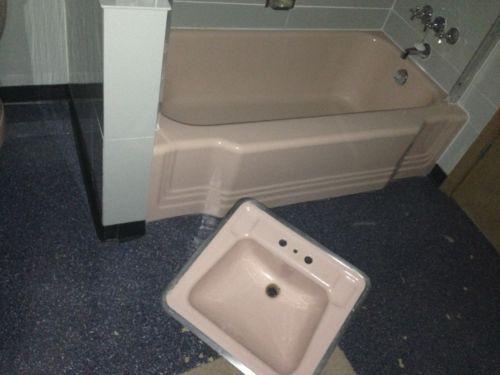 Antic Vintage American Standard Set Pink Bathtub Sink Bath Tub 1950  39 S   eBay. Antic Vintage American Standard Set Pink Bathtub Sink Bath Tub