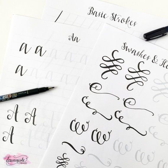 Fogli di lavoro di pennello calligrafia pratica: di ByDawnNicole