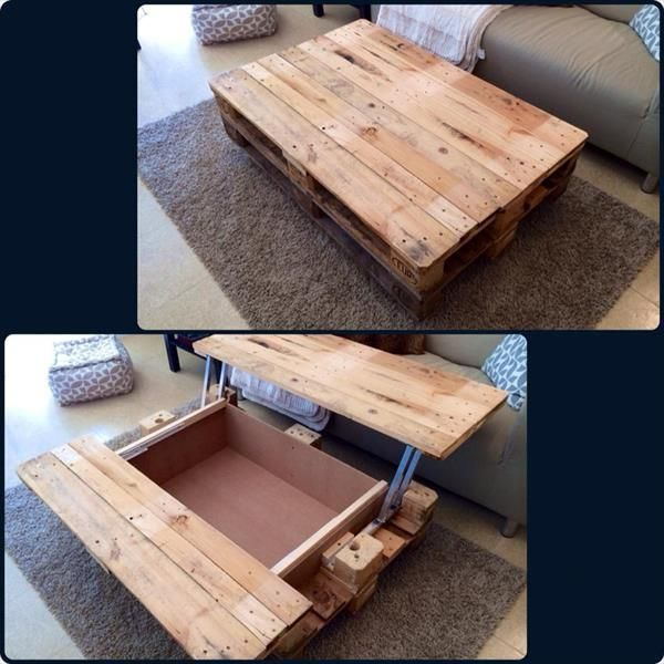 Coffee Table with Inside #Storage - 15 Unique Reclaimed Pallet Table Ideas | 99 Pallets. This would be great in the den.