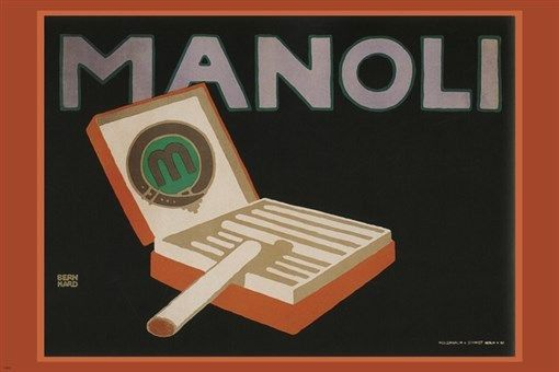 manoli cigarettes vintage AD poster by L. BERNHARD Germany 1910 24X36 HOT NEW