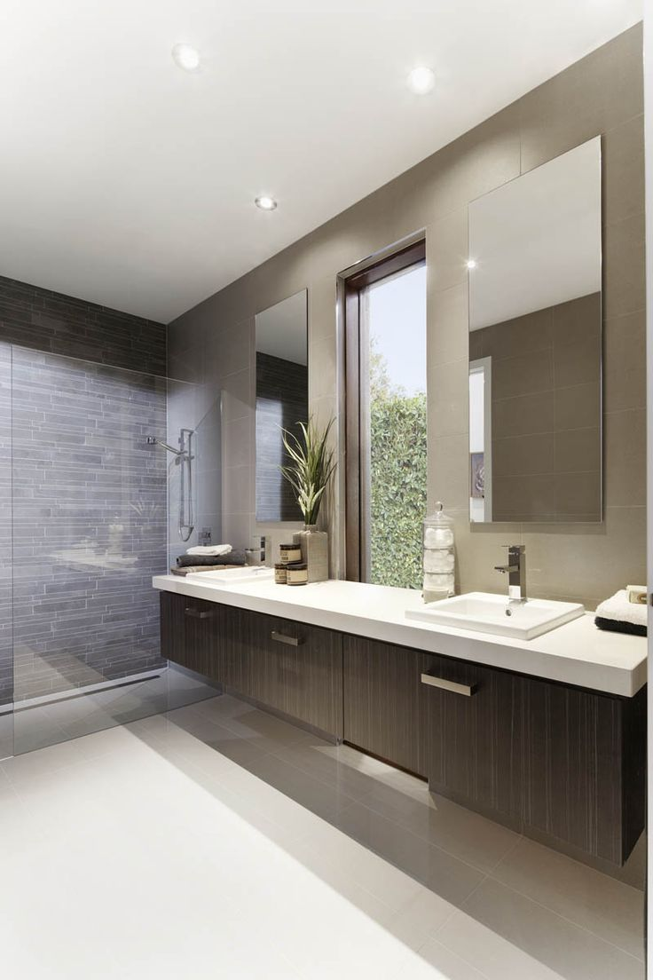 Master Ensuite idea. White/light coloured flooring and grey feature wall in shower.