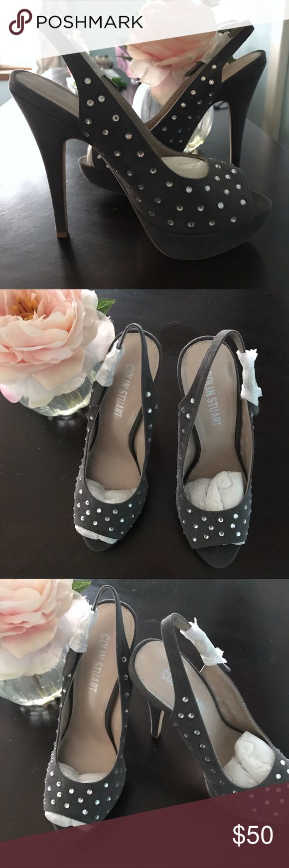 """Stiletto Colin Stuart Platform Peep Toes Slingback NEW without Box STILETTO Gray Colin Stuart Platform Peep Toes Slingbacks with Diamond (fake) Rhinestones. The platform is 1.5"""" and the heels are 6"""".  Size 7B NWOB Colin Stuart Shoes Heels"""