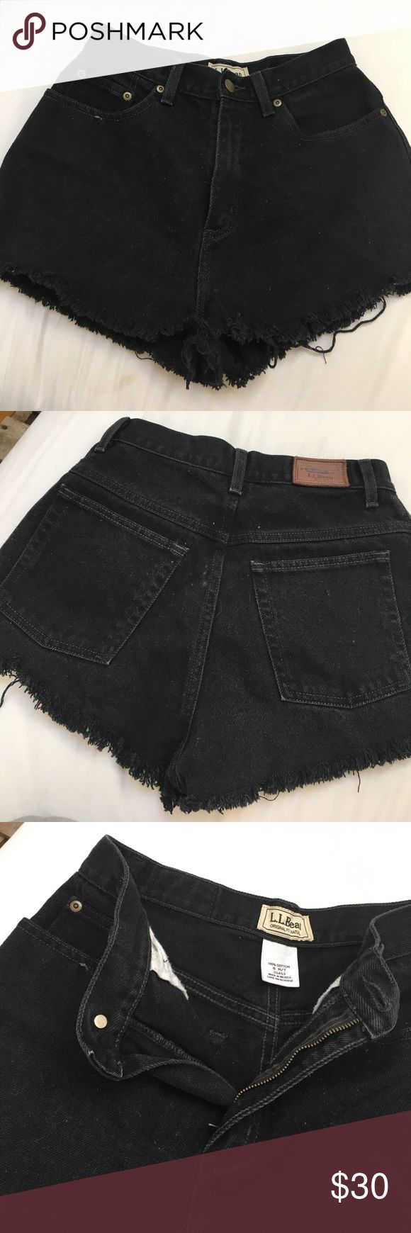 Cutoff jean shorts Cute black cutoff jean shorts made from L.L. Bean jeans. I'm a 25 in jeans and they fit me 🙂🙂🙂 L.L. Bean Shorts Jean Shorts