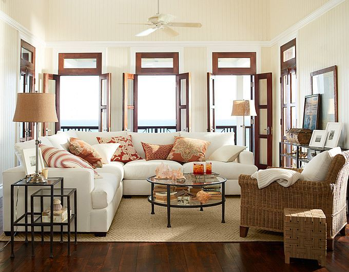 Beautiful Loving The Light Sectional With The Dark Metal And Glass Tables, Sisal Rug,  And