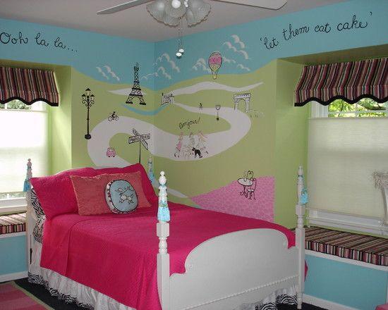 paris theme bedrooms design electric blue lime green