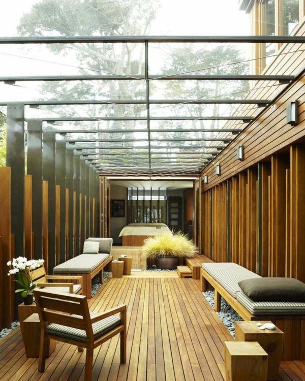 terrasse außenbereich gestaltungsideen glas dach