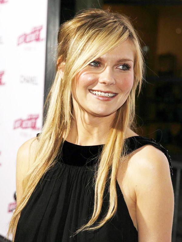 Kirsten Dunst side-swept bang, half-up long blonde hair