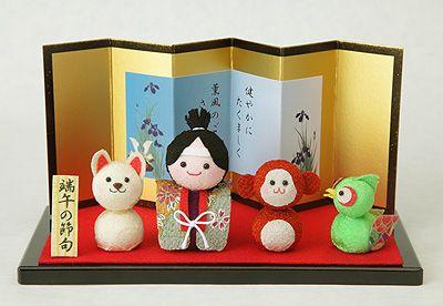 Chirimen(kimono fabric) dolls for children's day