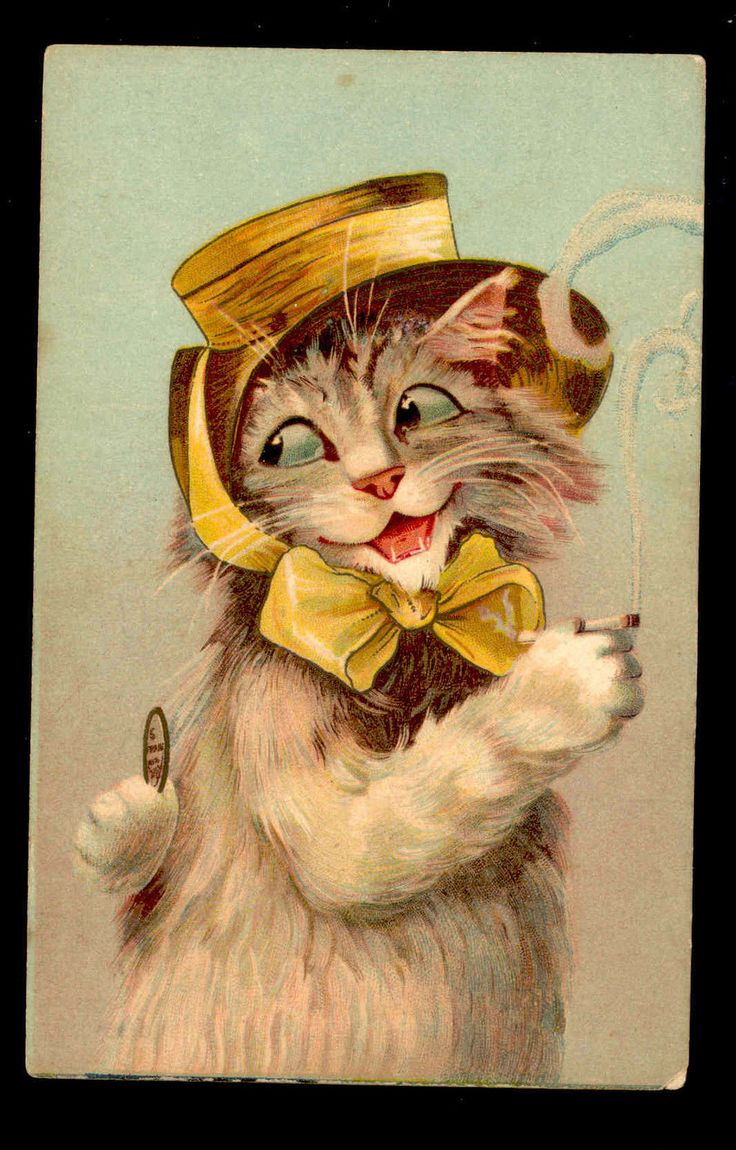 1908 Flirty smoking cat with coin postcard by Boulanger.