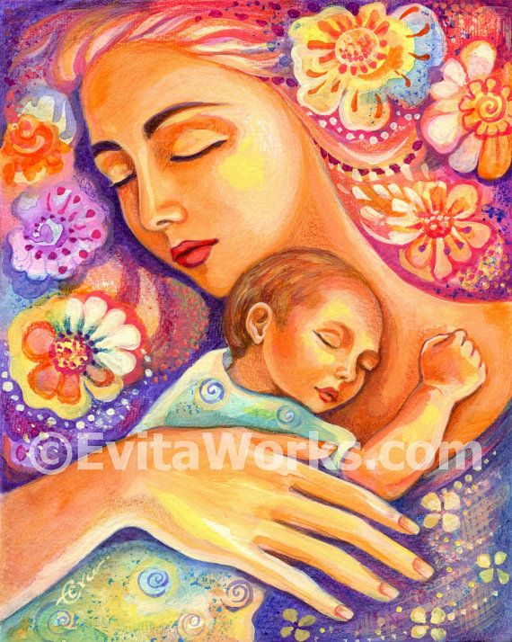 Mother and child painting, mother art, mothers love, nursery wall print, Mothers Day gift, signed print - 8x10 11x14