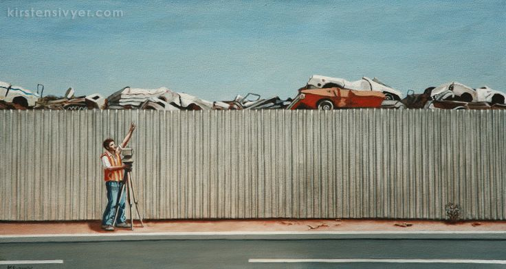 Australian Landscape painting. Kalgoorlie WA. Nissan Skyline (2005) oils on canvas, 23 x 44 cm