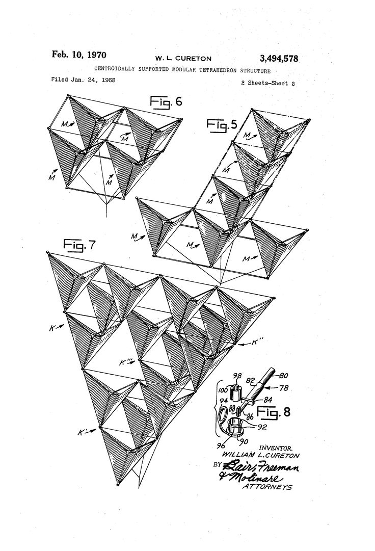 Patent US3494578 - Centroidally supported modular tetrahedron structure - Google Patents