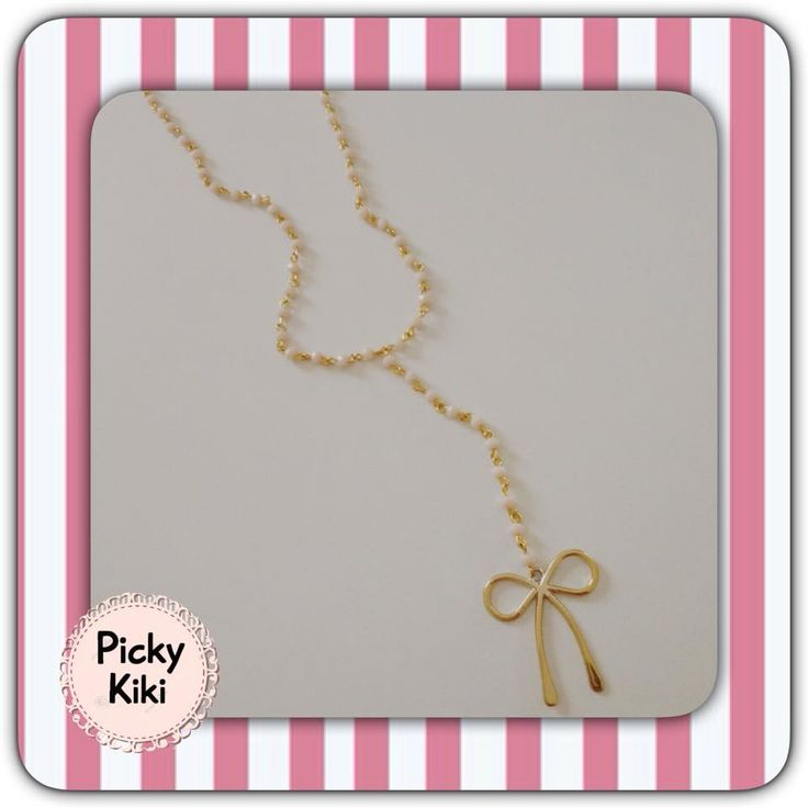 A long pendant with rosary beads on white k gold bow.Combine it with your long shirt for a super summer outfit! | Picky Kiki Accessories