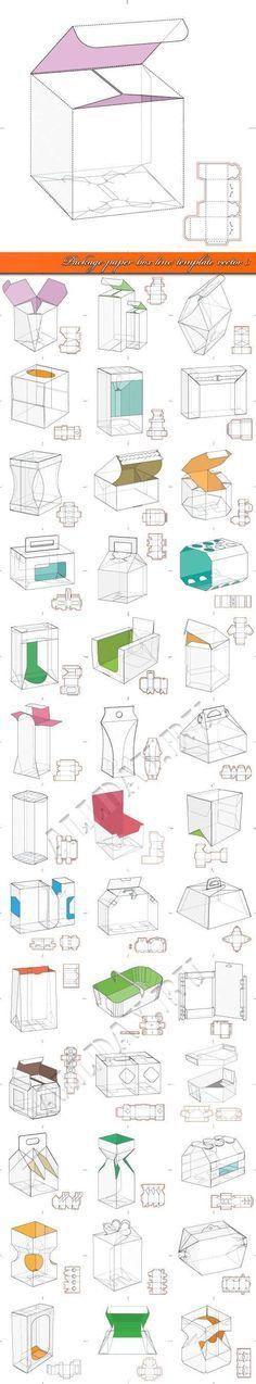 Картонная упаковка выкройка коробка шаблон 3 | Package paper box line template vector 3:
