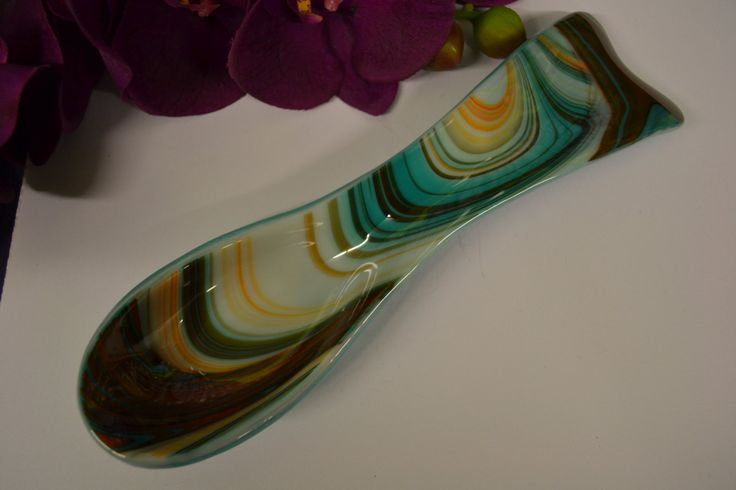 Spoon Rest, Fused Glass, Southwestern, Turquoise by PurpleSlugGlassArt on Etsy