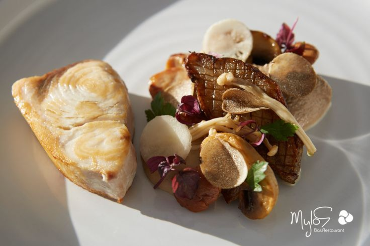 Swordfish, Jerusalem artichoke, mushrooms and Greek black trufle... Only for your delight! more at mylossantorini.com