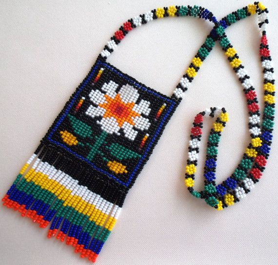 Mexican Huichol Loom Beaded flower Necklace by Aramara on Etsy