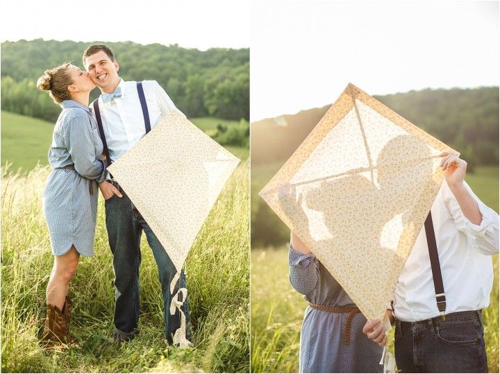 Kite flying engagement pictures! Click to view more engagement photos! #wedding #diy #engagement